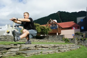 One-legged squats in Queenstown